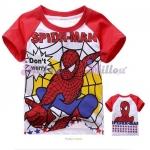 Millou เสื้อยืดแขนสั้น Spider Man สีขาว แขนสีแดง