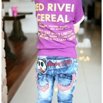CI&SI เสื้อแขนสั้นสีม่วง Red River Cereal