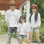 ชุดครอบครัวลายต้นไม้น่ารักมี4สีให้เลือก เสื้อครอบครัวแฟชั่นสไตล์เกาหลี (3 ตัว)