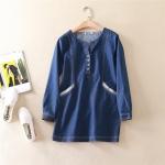 P71921 เสื้อตัวยาวแขนยาว ผ้ายีนส์เนื้อดีคอวี สีน้ำเงิน ไซส์ L XL