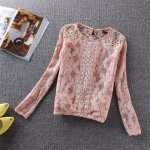 pr1099 เสื้อแฟชั่น ผ้าลูกไม้เนื้อดี สีชมพู แขนยาว พร้อมซับใน สม๊อคเอวและแขน size m L