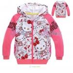 เสื้อกันหนาว Hello Kitty สีชมพู ซิปหน้า
