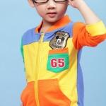 Huanzhu เสื้อแขนยาว ข้างหน้าสีเหลือง ข้างหลังสีฟ้า