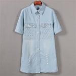 pr1593 เสื้อแฟชั่นตัวยาว แขนสามส่วนคอปก ผ้ายีนส์แต่งลูกปัด