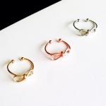 ACC019 แหวนรูปโบว์ สีเงิน ทอง พิงค์โกลด์