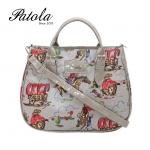 กระเป๋า Patola รุ่น AP ผ้าเคลือบลายขี่ม้าสีเทา
