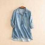 P70151 เสื้อเชิ้ตแขนสามส่วน ผ้ายีนส์เนื้อดี สีน้ำเงินฟอก