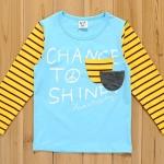 CI&SI เสื้อแขนยาวสีฟ้า แขนลายทางสีเหลือง