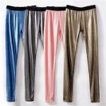 pr1674 กางเกงเลคกิ้งผ้ายืดเนื้อเงา แต่งหมุดทอง