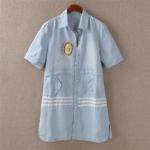 pr1588 เสื้อเชิ้ตแฟชั่นตัวยาว ผ้ายีนส์เนื้อดี กระดุมหน้า 2 ลาย