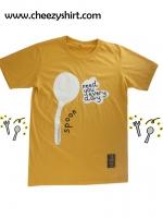 เสื้อยืดแฟชั่น ลายน่ารัก แนวๆ เสื้อคู่รัก ลายช้อน สีเหลือง