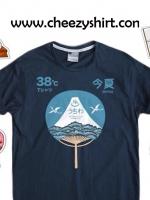 เสื้อยืดแฟชั่น ลายน่ารัก แนวๆ ลายภูเขาไฟฟูจิ สีน้ำเงิน