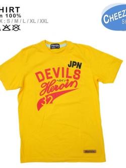 เสื้อยืดแฟชั่น ลายเท่ๆ แนวๆ ลายDEVIL เหลือง
