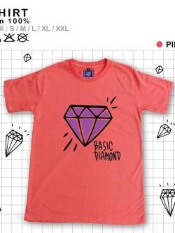 เสื้อยืดแฟชั่น ลายน่ารัก แนวๆ ลายเพรชสีชมพู