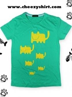 เสื้อยืดแฟชั่น ลายน่ารัก แนวๆ ลายฝูงแมว