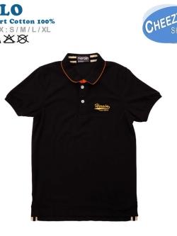 เสื้อโปโลแฟชั่น เกรดพรีเมี่ยม สีดำสาบคอส้ม