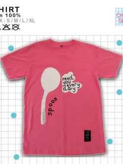 เสื้อยืดแฟชั่น ลายน่ารัก แนวๆ คู่รัก ลายช้อน สีชมพู