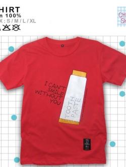 เสื้อยืดแฟชั่น ลายน่ารัก แนวๆ เสื้อคู่รัก ลายยาสีฟัน สีแดงส้ม