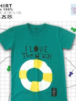 เสื้อยืดแฟชั่น ลายน่ารัก แนวๆ คู่รัก ลายห่วงยาง สีเขียว