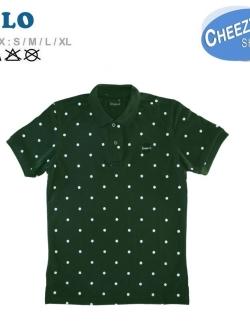 เสื้อโปโลแฟชั่น ลายจุดเขียวหัวเป็ด