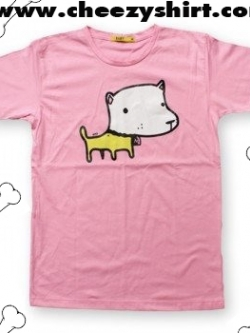 เสื้อยืดแฟชั่น ลายน่ารัก แนวๆ ลายหมาน้อย สีชมพู