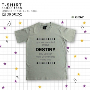 เสื้อยืดแฟชั่น ลายน่ารัก แนวๆ DESTINYสีเทา size XL