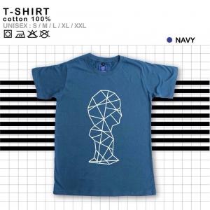 เสื้อยืดแฟชั่น ลายน่ารัก แนวๆ ลายเส้นสีน้ำเงิน