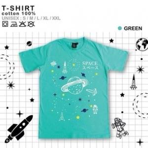 เสื้อยืดแฟชั่น ลายน่ารัก แนวๆ ลายสเปซสีเขียว