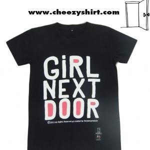 เสื้อยืดแฟชั่น ลายน่ารัก แนวๆ คู่รัก ลาย girl next door. ไซส์ S