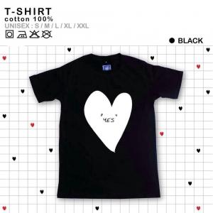 เสื้อยืดแฟชั่น ลายน่ารัก แนวๆ ลายหัวใจดำ
