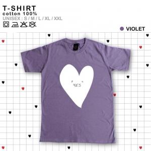 เสื้อยืดแฟชั่น ลายน่ารัก แนวๆ ลายหัวใจสีม่วง ไซส์XL