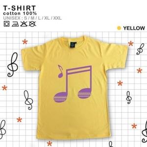เสื้อยืดแฟชั่น ลายน่ารัก แนวๆ ลายตัวโน๊ตดนตรีสีเหลือง