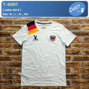 เสื้อยืดแฟชั่น ลายเท่ๆ แนวๆ ลาย GERMAN EURO ขาว