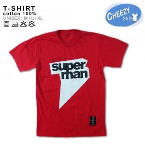เสื้อคู่รัก ลายน่ารัก แนวๆ ลาย SUPERMANสีแดง