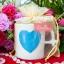 แก้วกาแฟ ลายหัวใจนูน ขนาดใหญ่ แพ็คถุงผ้าโปร่งลูกไม้ thumbnail 1