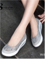รองเท้าผ้าใบทรงคัชชู สไตล์สุขภาพ (สีเทา )