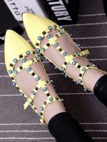 รองเท้าคัชชูสีเหลือง คัลเลอร์ฟูล 7 สี งาน Valentino แบบชนช้อป สินค้าคอเลคชั่นใหม่ ไฉไล กว่าเดิม วัสดุทำจากหนังpu นิ่มมาก