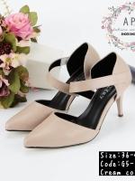 รองเท้าส้นสูงสีครีม แบบมาใหม่ หนังพียูเนื้อดีสีแมนซ์สวย หัวแหลมใส่สวย ใส่ง่ายปรับระดับรัดข้อเท้าด้วยตัวแปะตีนตุ๊กแก ใส่สะดวก สูง3นิ้ว