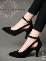 รองเท้าส้นสูงสีดำ ทรงส้นเข็ม งานมาใหม่ นำเข้า สวยเรียบ หรู ไม่เหมือนใคร ส้น สูง3นิ้ว กำลังดี วัสดุทำด้วยหนังสักหลาด ทรงหัวแหลมทำให้เท้าดูเรียว