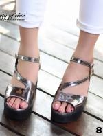 รองเท้าส้นตึก สไตล์เกาหลี หนังแก้วนิ่มสีดำ (สีเทา )