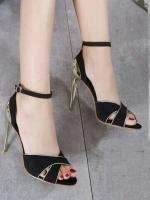 รองเท้าส้นสูง วัสดุผ้าสักราด (สีดำ )
