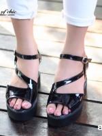 รองเท้าส้นตึก สไตล์เกาหลี หนังแก้วนิ่มสีดำ (สีดำ )