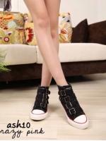 รองเท้าผ้าใบสีดำ ผ้าแคนวาสแบบเหมือนที่คุณเจนี่ใส่ สูง1นิ้ว แต่งเข็มขัดข้างหน้า ใส่สวย ใส่สบาย
