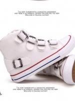 รองเท้าผ้าใบสีขาว ผ้าแคนวาสแบบเหมือนที่คุณเจนี่ใส่ สูง1นิ้ว แต่งเข็มขัดข้างหน้า ใส่สวย ใส่สบาย