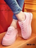 รองเท้าผ้าใบ Korea-style ผ้าแคนวาส (สีชมพู )