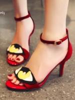 รองเท้าส้นสุงสีแดง ส้นเข็มแม็กซี่ งานแฟชั่นสุดแซ่บ ผ้าสักราจ มีสายรัดข้อ ปรับระดับได้ แบบสวย เก๋ไม่ซ้ำใคร ส้นเข็มสูง 3.5 นิ้ว