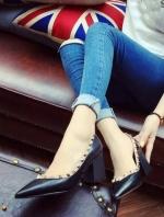 รองเท้าคัชชูส้นตันเหลี่ยม Valentino 2016 (สีดำ)