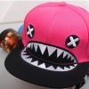 pre order หมวกฮิปฮอป hiphop unisex เท่ๆ สไตล์เกาหลี ลายฉลามหัวเราะชมพู