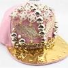 pre order หมวกฮิปฮอป hiphop unisex เท่ๆ สไตล์เกาหลี ลายฟรุ้งฟริ้งสีชมพู
