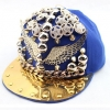 pre order หมวกฮิปฮอป hiphop unisex เท่ๆ สไตล์เกาหลี ลายฟรุ้งฟริ้งสีน้ำเงิน